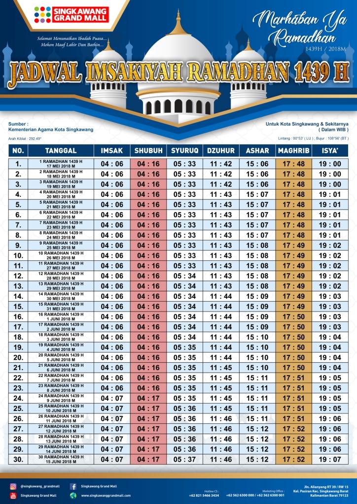 Info jadwal waktu sholat Singkawang