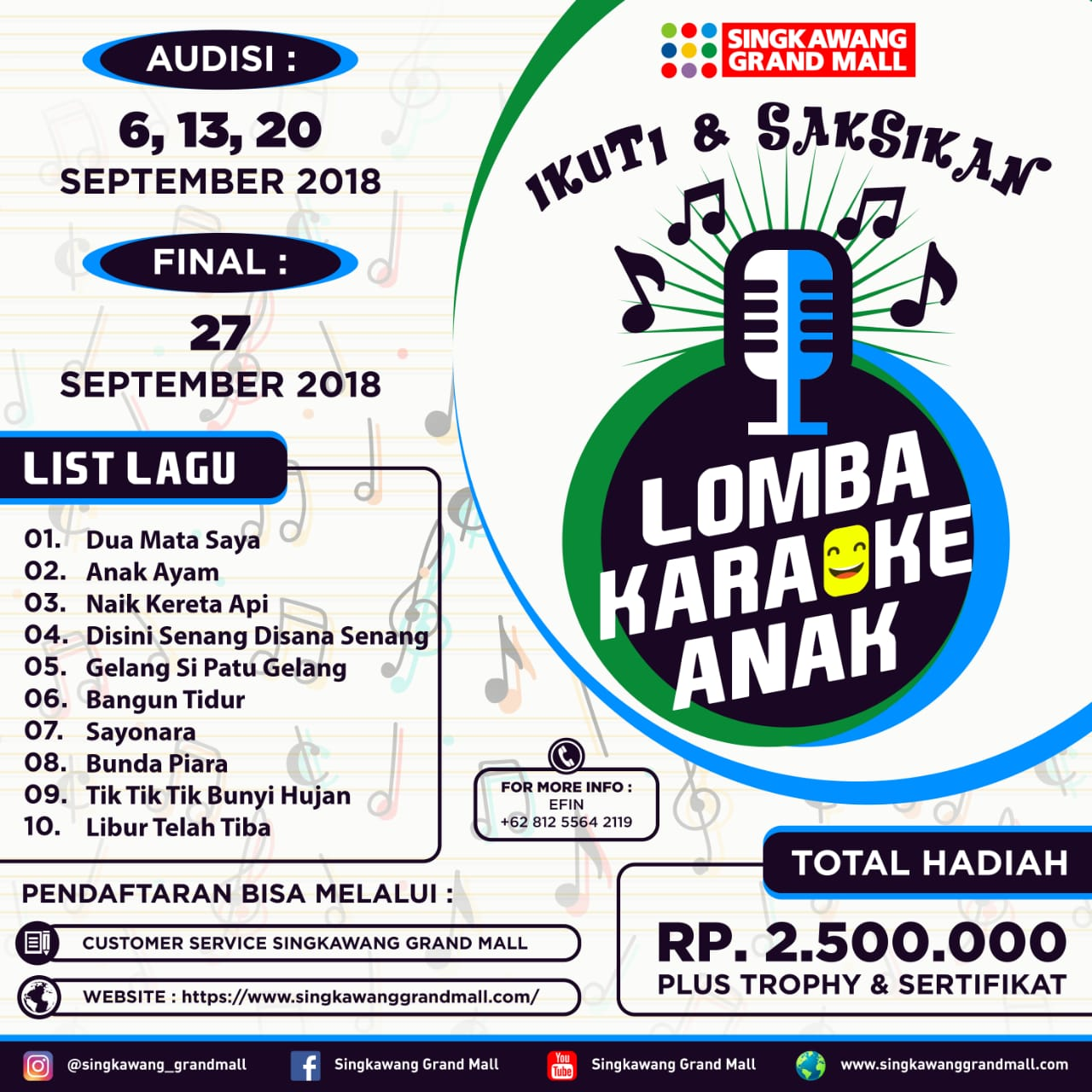 Lomba Karaoke Anak September 2018 Singkawang Grand Mall