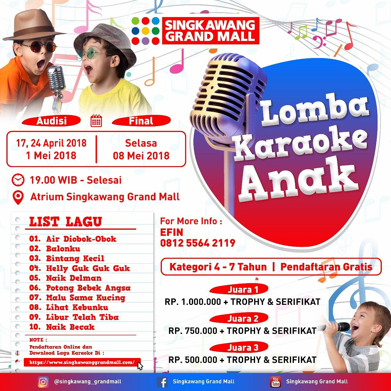 Lomba Karaoke Anak Singkawang Grand Mall